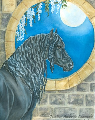 An original watercolor horse painting of a Friesian gazing at the moon.