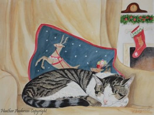 Cat lovers will love the tabby cat dreaming of Christmas featured in this                                      original watercolor cat painting by Heather Anderson.