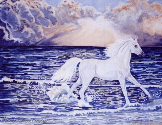 Horse lovers love to see white Arabians running along an ocean shore. This original watercolor painting would be a great horse lover's gift.
